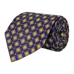 Steel Blue and Gold Medallion Silk Twill Tie