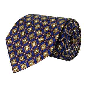 Steel Blue and Gold Medallion Silk Twill Tie