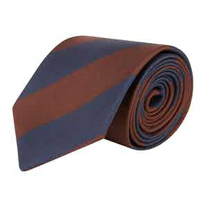 Brown and Navy Blue Striped Silk Tie