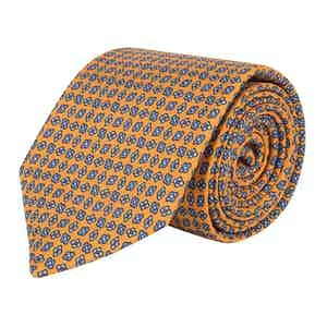 Burnt Yellow and Blue Floral Repeat Silk Tie