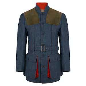 Blue Denim Herringbone Norfolk Jacket