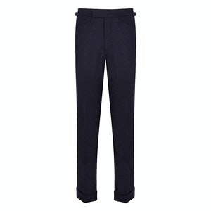 Dark Blue Plainweave VBC Wool Flannel Connery Flat Fronted Trousers