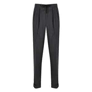 Charcoal Worsted Flannel Stretch Aleks Drawstring Trousers