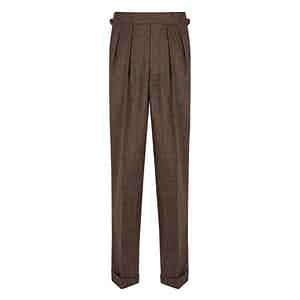 Mid-Brown Salt & Pepper VBC Flannel Aleksandar Trousers