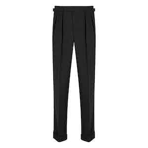 Charcoal Glencheck 4-Ply VBC Tropical Wool Aleksandar Trousers