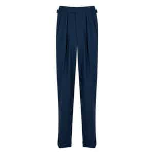 Blue Houndstooth 4-Ply VBC  Tropical Wool Aleksandar Trousers