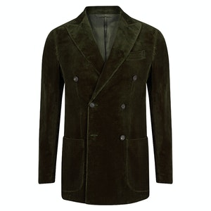 Forest Green Corduroy Double Breasted Blazer