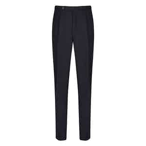 Navy Wool Pleated Trouser