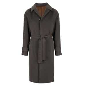 Grey Belted Single Breasted Coat