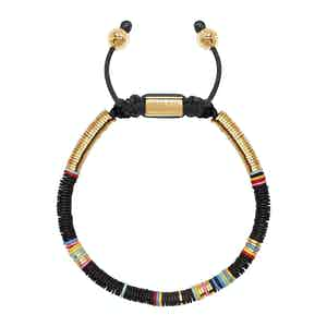 Beaded Bracelet with Black Disc Beads and Gold
