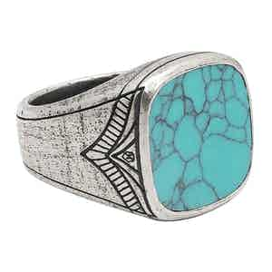 Vintage Sterling Silver Cocktail Ring with Genuine Turquoise