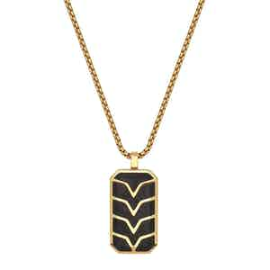 Forged Carbon Fiber Dog Tag with Gold Chevron Detail