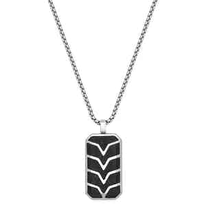 Forged Carbon Fiber Dog Tag with Silver Chevron Detail