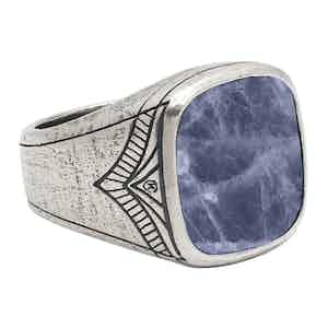 Vintage Sterling Silver Cocktail Ring with Blue Dumortierite