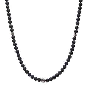Beaded Necklace with Matte Onyx and Silver