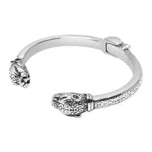 Adorned Panther Bangle in Silver