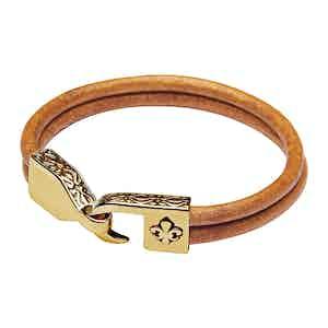 Brown Leather Bracelet with Gold Fleur De Lis Lock