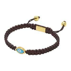 Brown String Bracelet with Gold Evil Eye