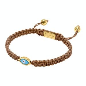 Light Brown String Bracelet with Gold Evil Eye