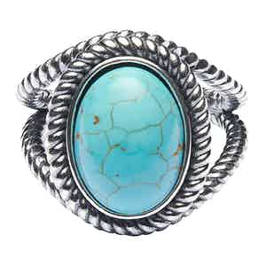 Silver Ring With Turquoise Mother of Pearl Stone