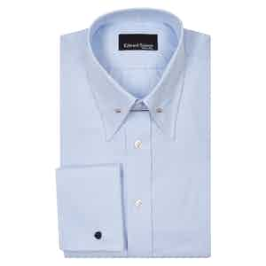 Blue Pin Collar Cotton Poplin Shirt