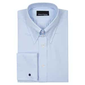 Blue Tab Collar Cotton Poplin Shirt