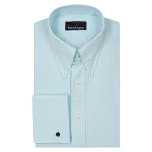 Green Micro Check Tab Collar Cotton Poplin Shirt