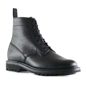 Black Grain Leather Kelso Derby Boot