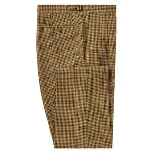 Camel Check Pleated Trousers