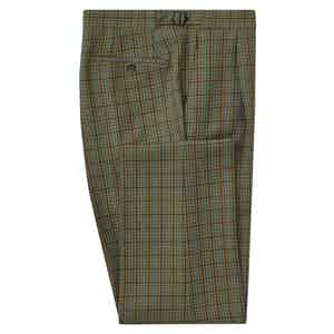 Green Check Pleated Trousers