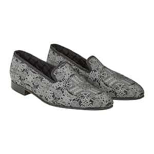 Silver Rococco Silk Slippers