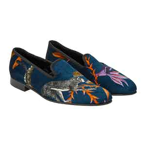 Navy Chasing Monkey Velvet Slippers