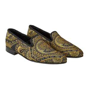 Black And Gold Skull & Crossbone Silk Slippers