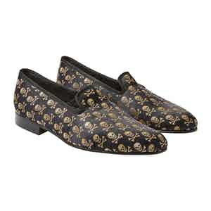 Black And Gold Skull & Crossbones Slippers