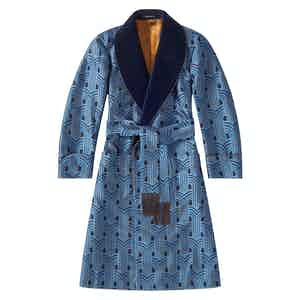 Blue And Yellow Art Deco Lined Dressing Gown