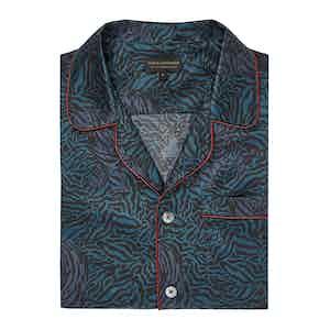 Navy Tiger Design Silk Cotton Pyjama Set