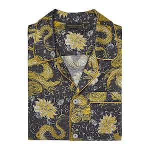 Black Dragon Design Silk Cotton Pyjama Set