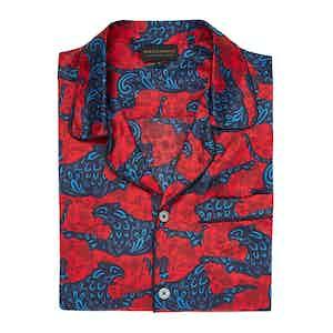 Red Mythical Design Silk Cotton Pyjama Set