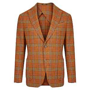 Orange Check Tweed Single Breasted Decon Jacket