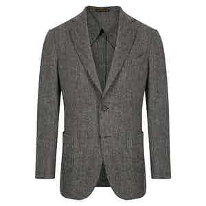 Charcoal Herringbone Single Breasted Decon Jacket