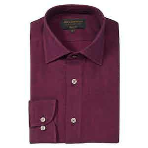 Magenta Brushed Cotton Soft Collar Shirt