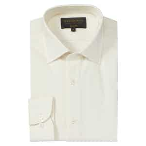 White Brushed Cotton Casual Classic Soft Collar French placket Shirt
