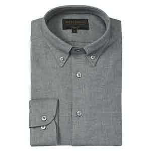 Grey Brushed Cotton Casual Classic Soft Collar French placket Shirt