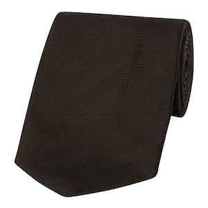 Black Solid Herringbone Silk Tie