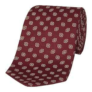 Red and Cream Diamond Medallion Silk Tie