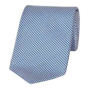 Light Blue and White Diamond Silk Tie
