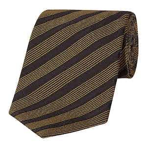 Navy And Gold Stripe Silk Tie