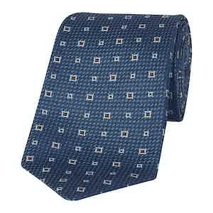 Blue And Burgundy Irregular Pattern Silk Tie
