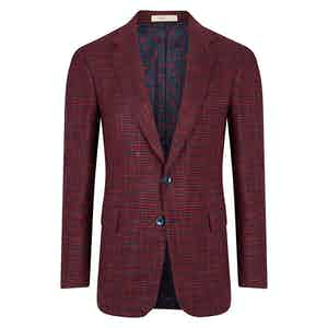 Red and Blue Houndstooth Single Breasted Jacket