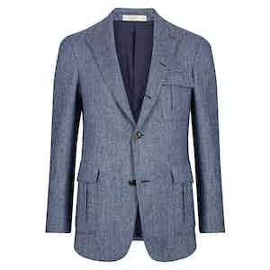 Blue Herringbone Single Breasted Jacket